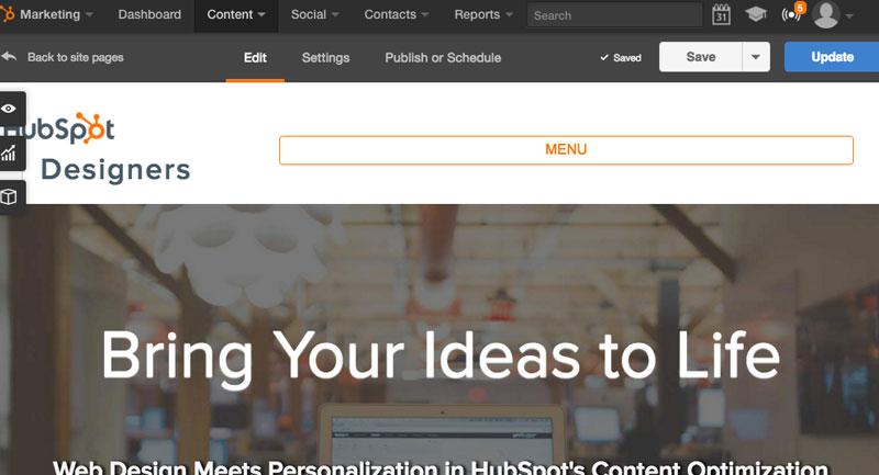 HubSpot Designers screen