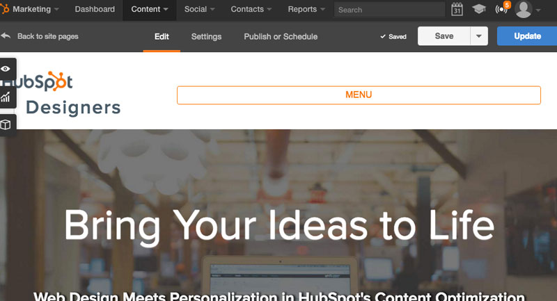 HubSpot Designers screen