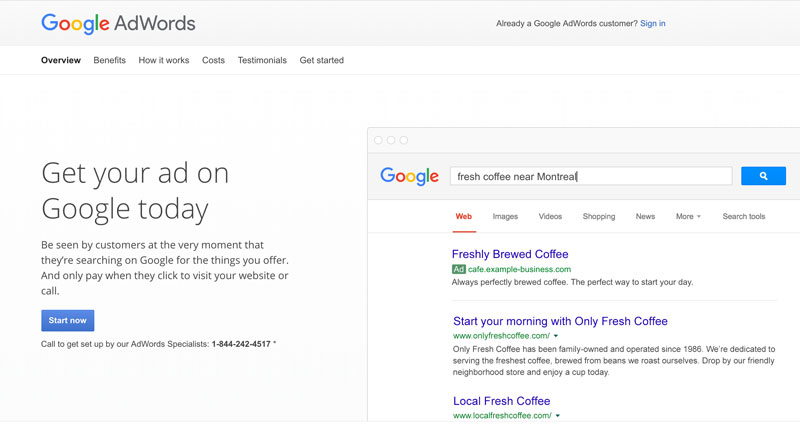 Google Adwords example screen