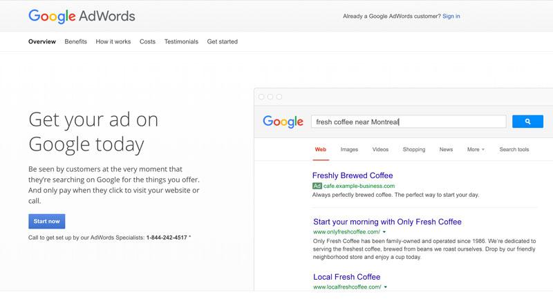 Google Adwords example screen