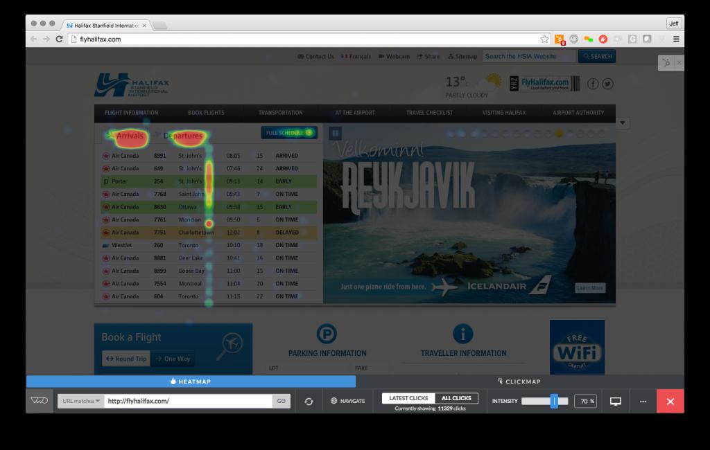 FlyHalifax.com Website Heatmap