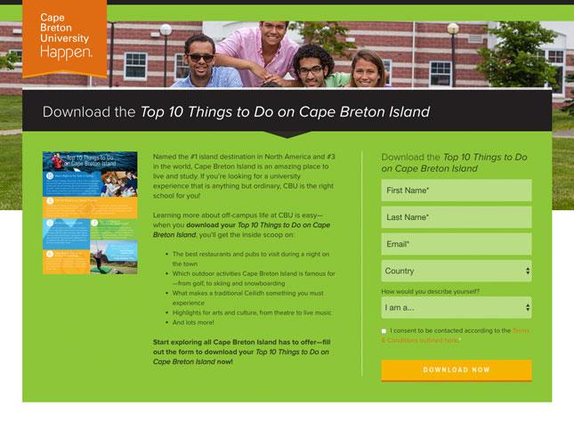 Cape Breton University HubSpot landing page
