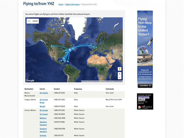 HIAA flight tracking page with map