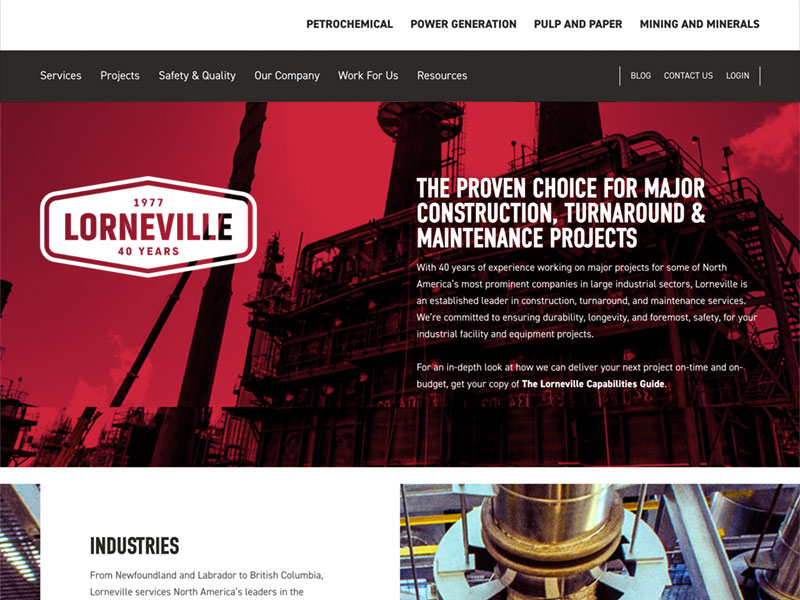 A screenshot of the Lorneville homepage