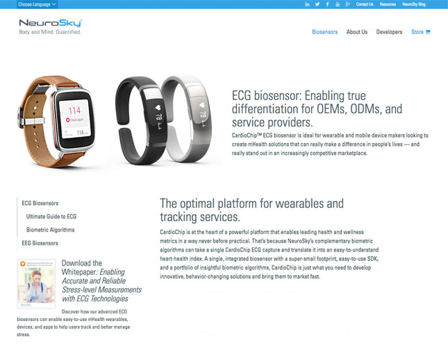 Neurosky biosensor internal page screenshot
