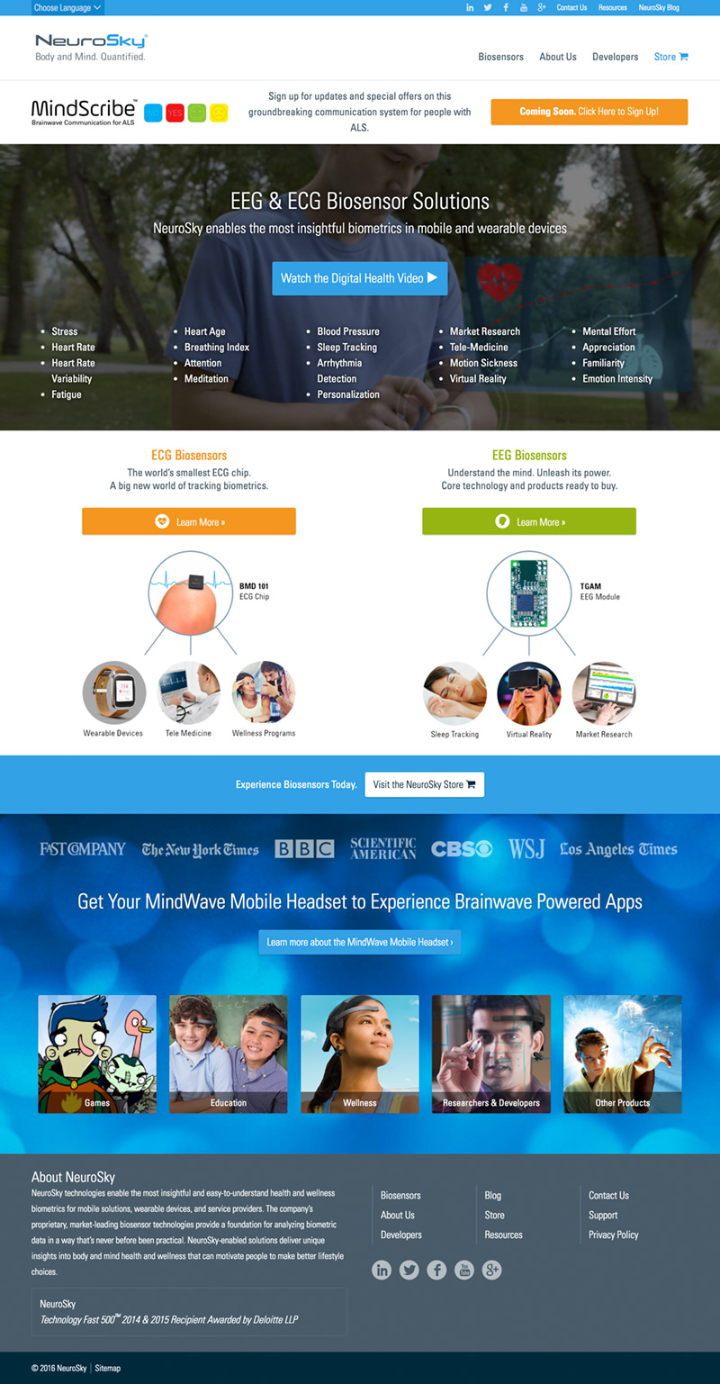 A screenshot of the full NeuroSky homepage