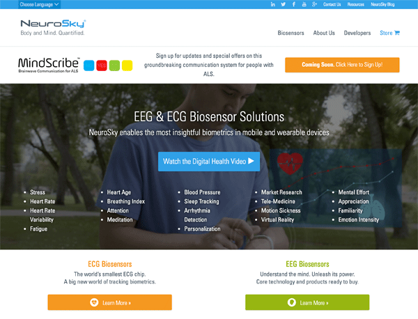 A screenshot of the NeuroSky homepage