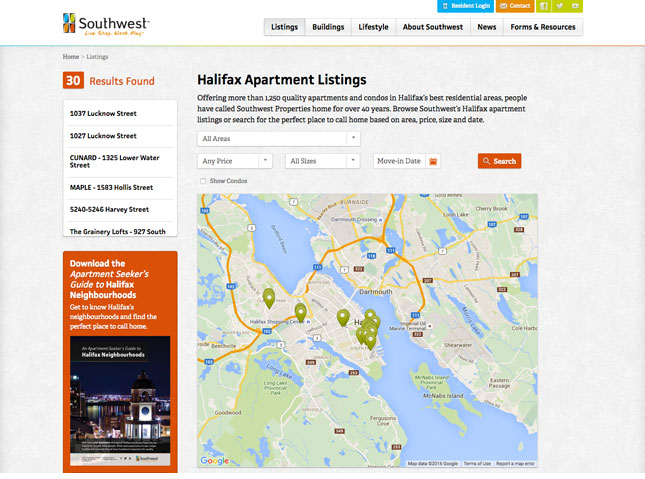 Southwest apartment listing map search