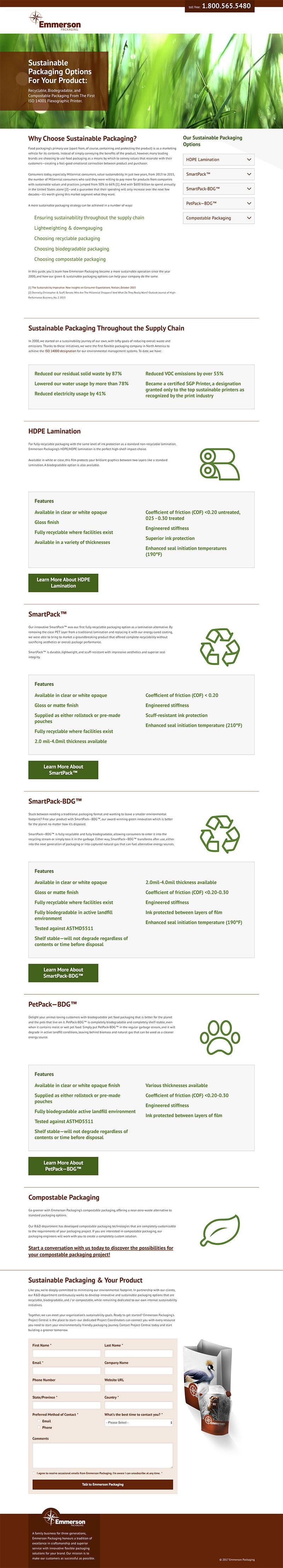 A screenshot of an Emmerson Packaging offer