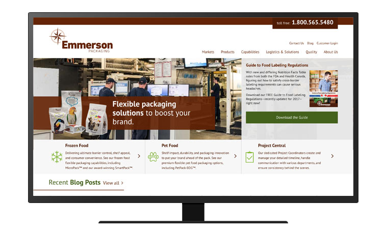 A screenshot of the Emmerson Packaging homepage