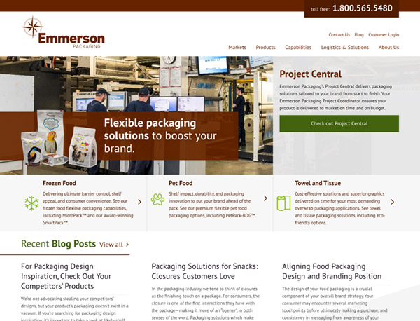 Emmerson Packaging homepage screenshot