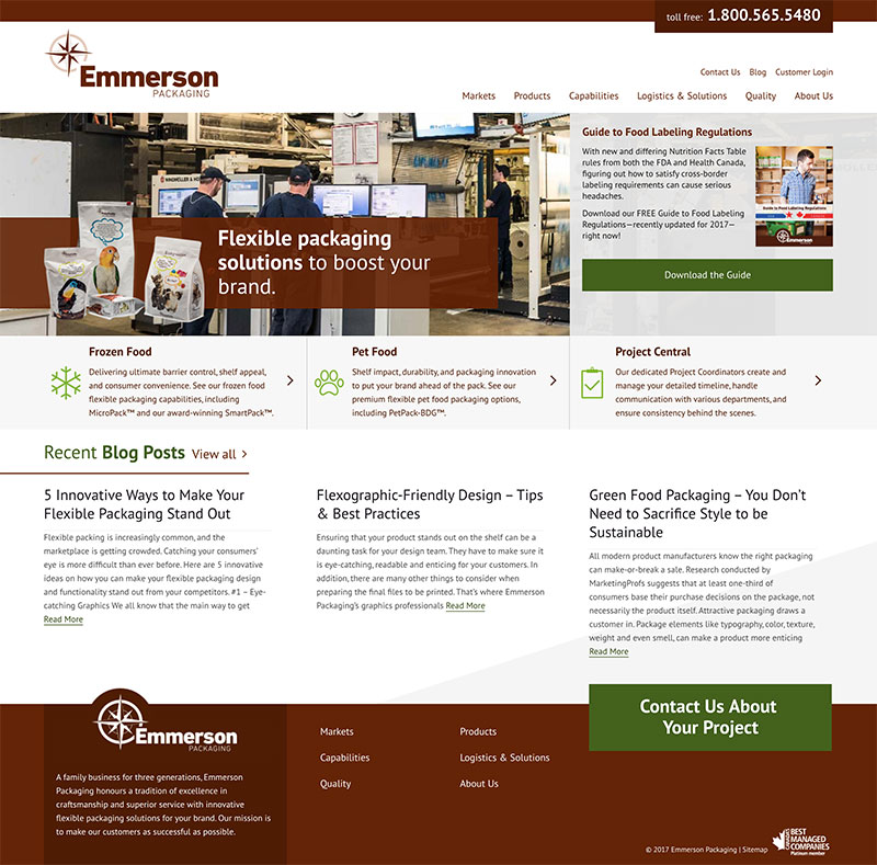 A full screenshot of the Emmerson Packaging homepage