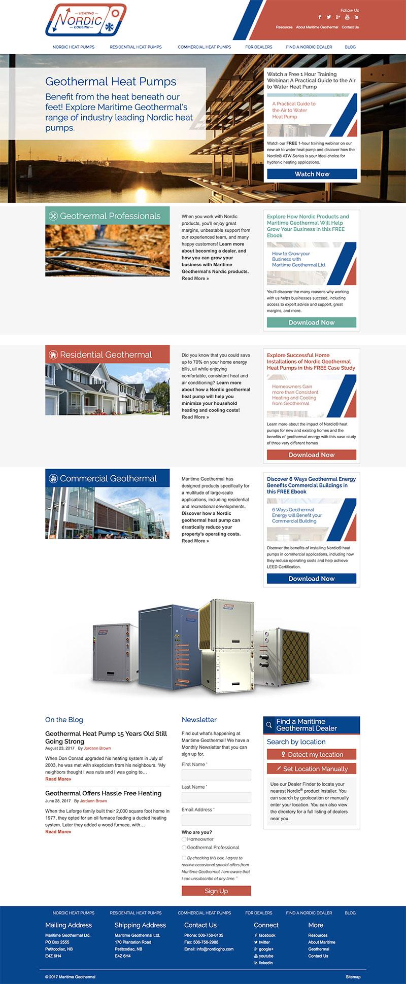 A screenshot of the full A screenshot of the full Maritime Geothermal homepage homepage