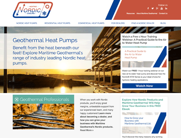 Maritime Geothermal homepage screenshot