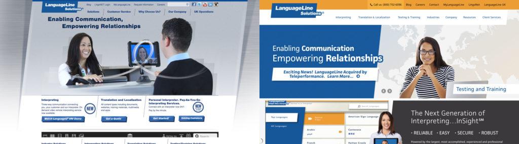 COS Site design - LanguageLine Site Old vs New