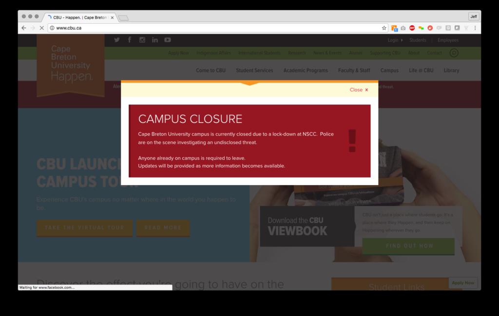 CBU Website Alert System - Desktop