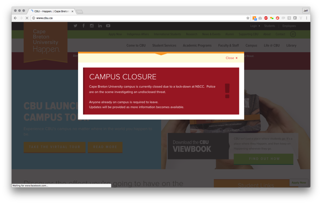 CBU Website Alert System - Desktop