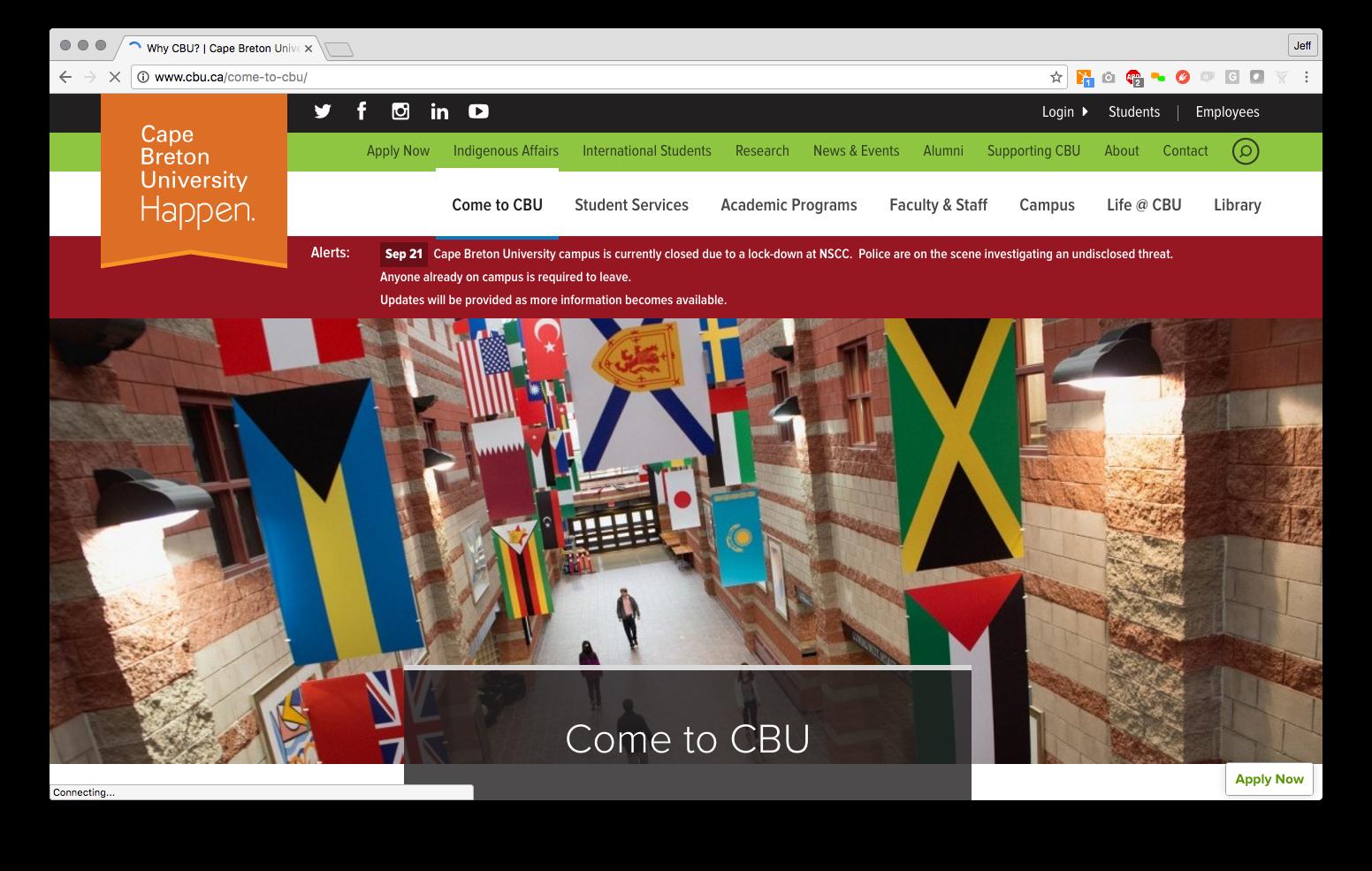 CBU internal page alert
