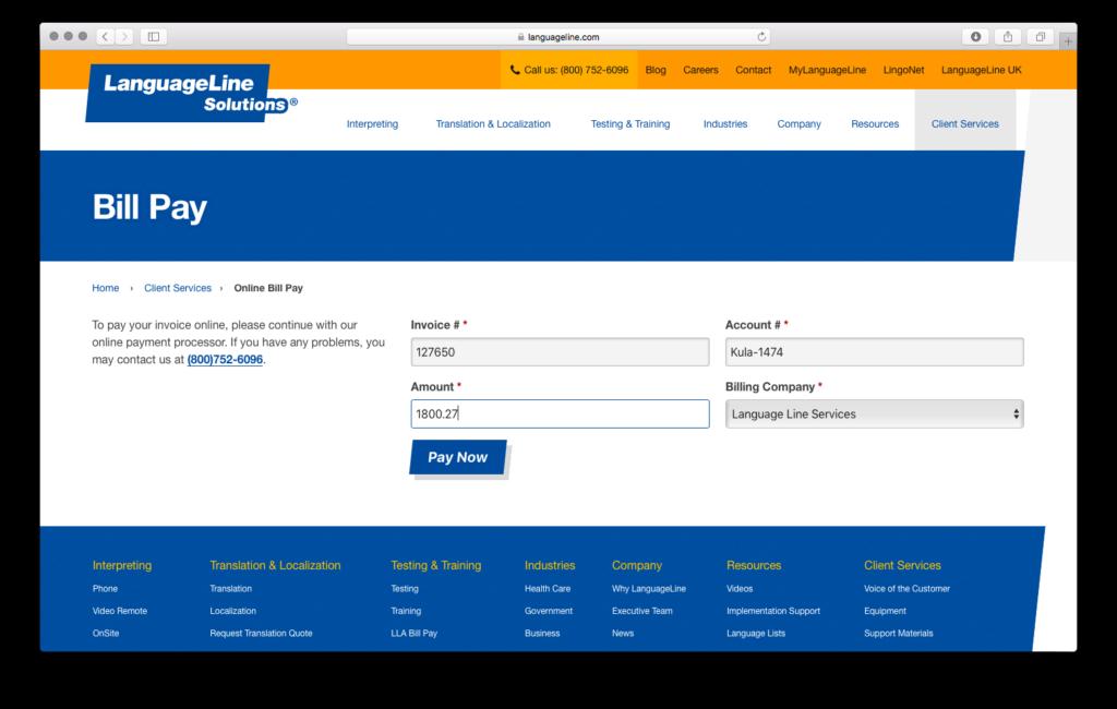 LanguageLine Bill Payment screen