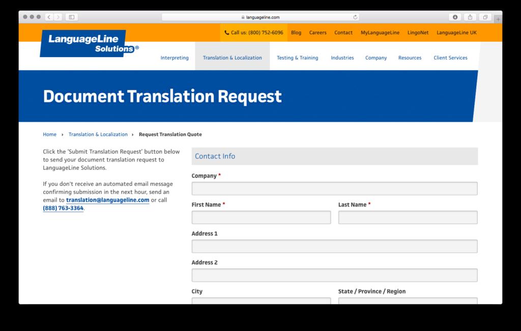 LanguageLine Translation Request
