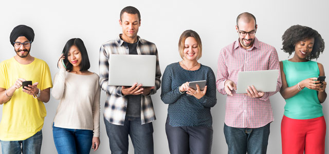 group of people using devices