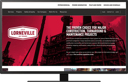 Screenshot of the Lorneville homepage