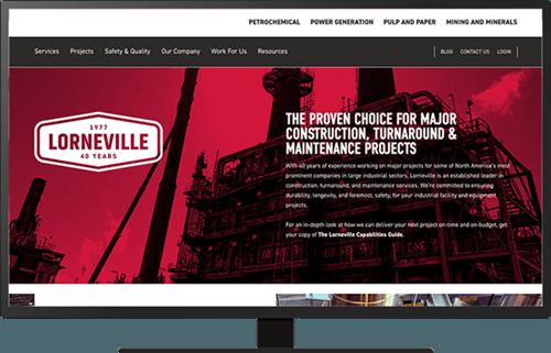 Screenshot of the Lorneville homepage