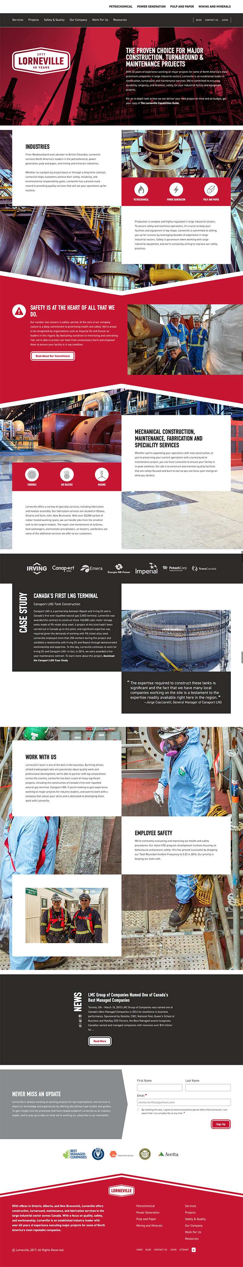 A screenshot of the full Lorneville homepage