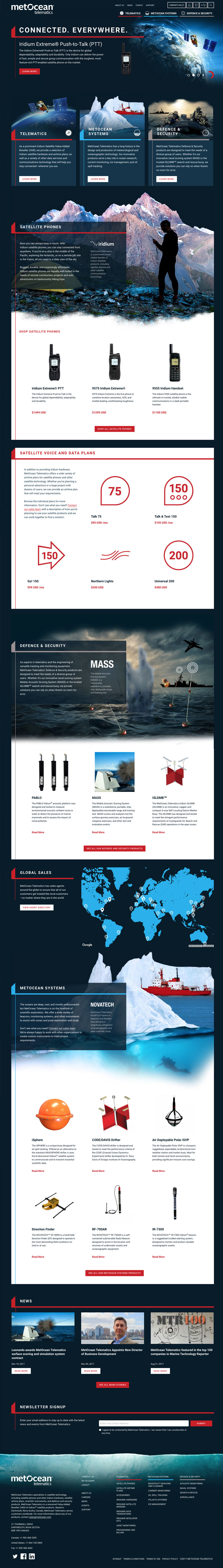 A screenshot of the full MetOcean homepage