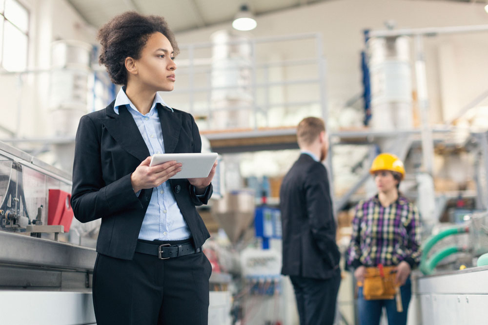 Buyer inspecting manufacturing facility