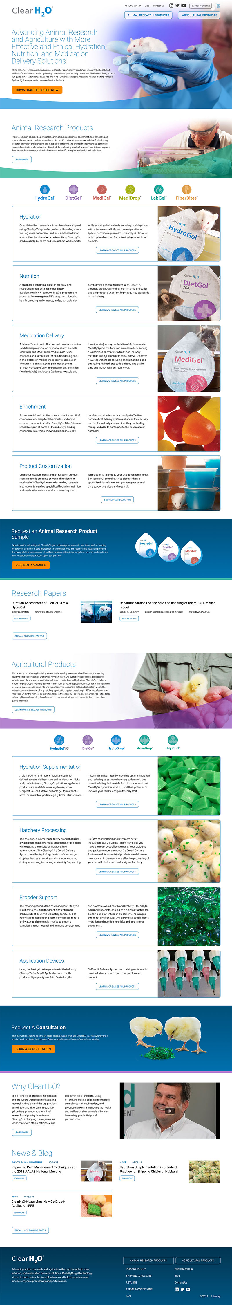 A screenshot of the ClearH2O homepage