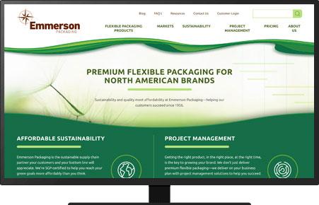 A screenshot of an Emmerson Packaging landing page in HubSpot.