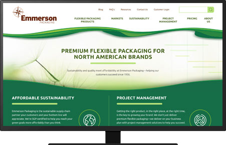 A screenshot of an Emmerson Packaging landing page in HubSpot.