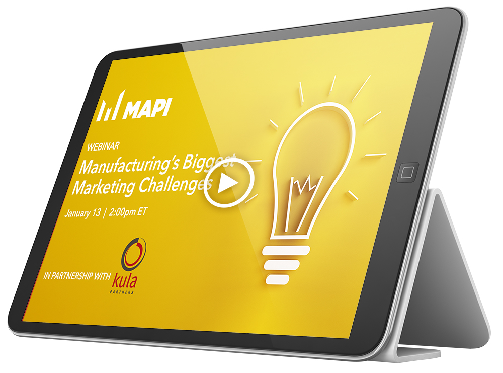 Image of tablet with webinar on screen